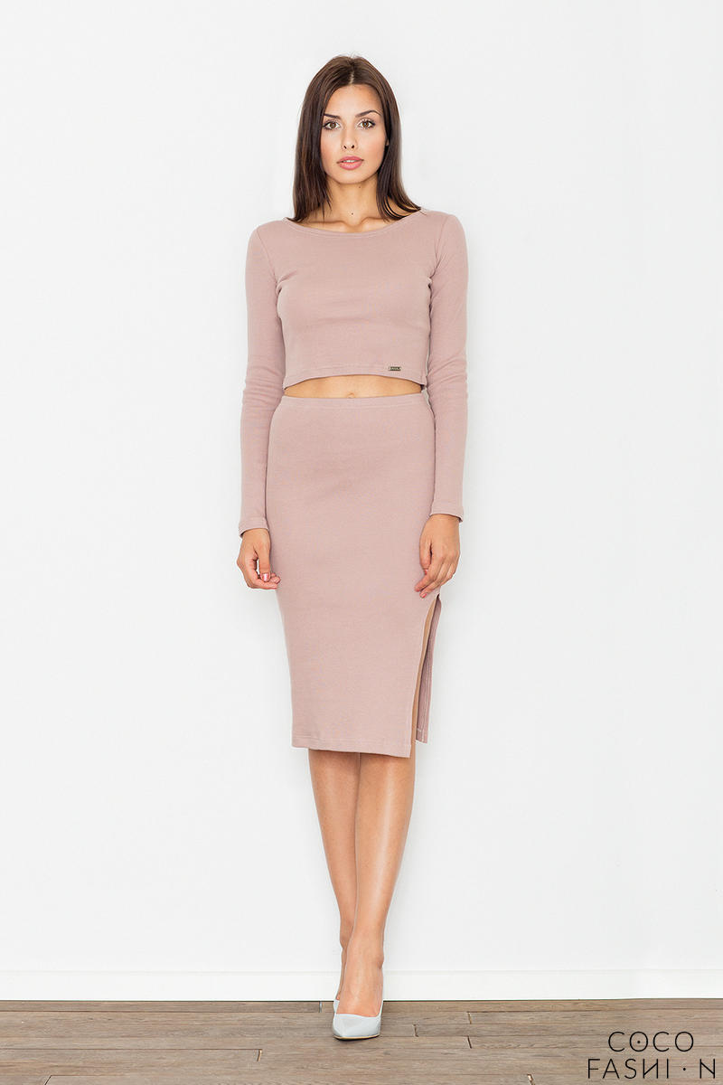 Light Pink Two Pieces Set Short Top+Pencil Skirt