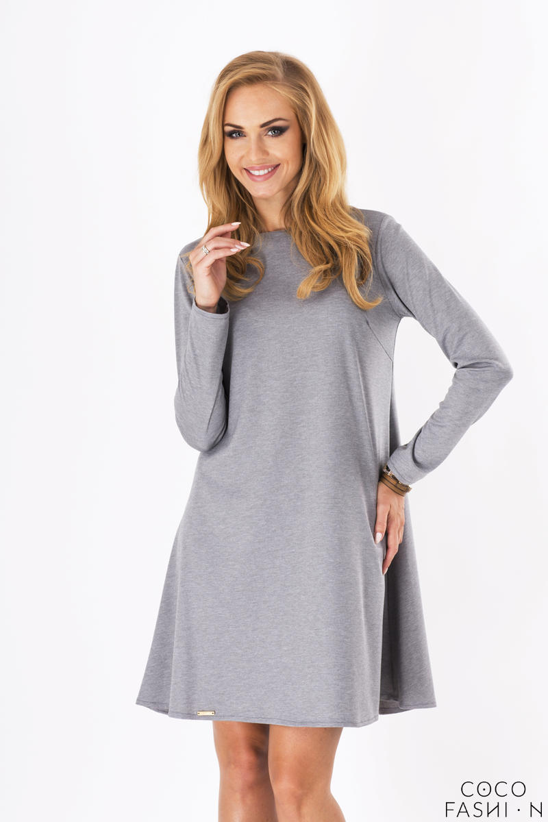 Grey Plain Long Sleeves Dress