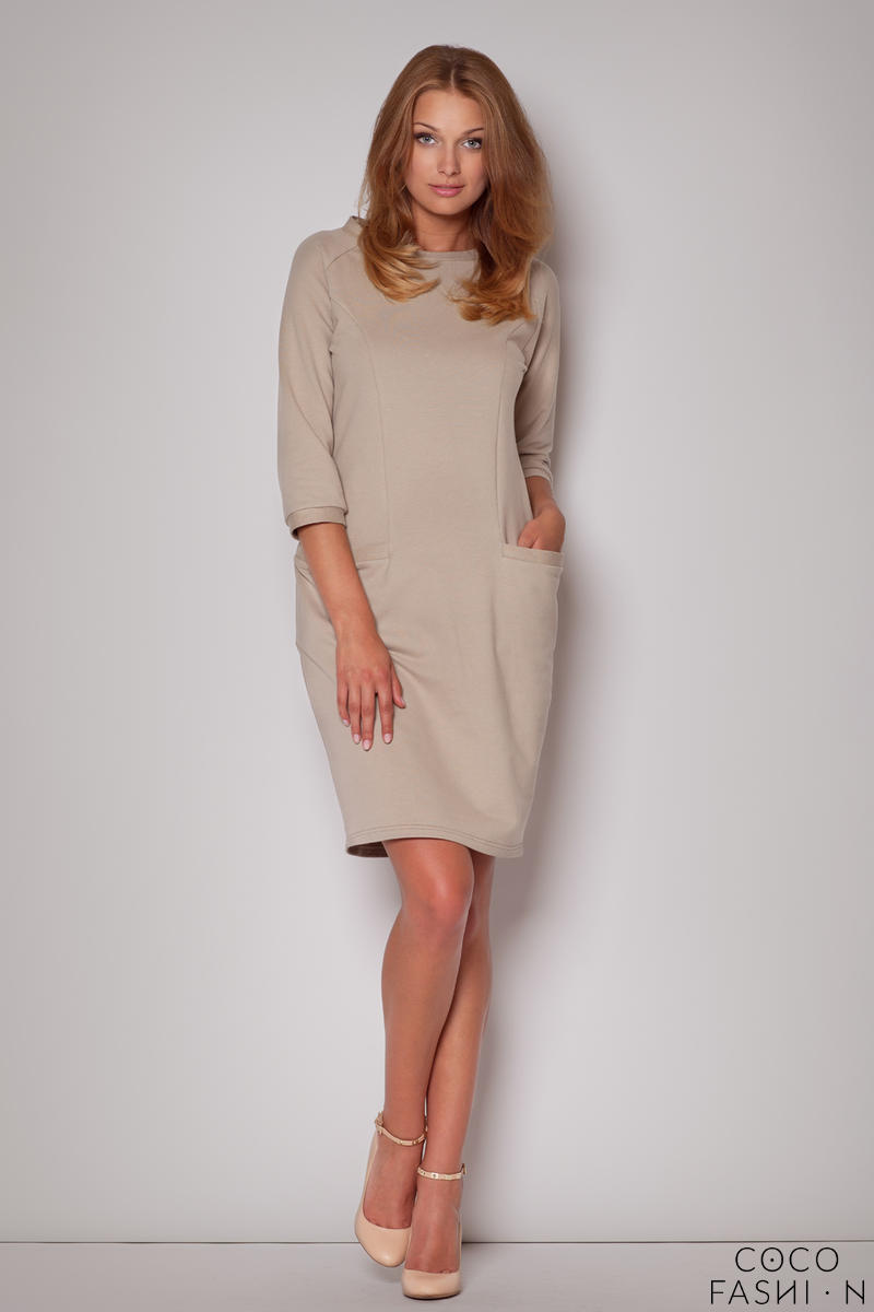 Flecked Seam Shift Beige Dress with Side Welt Pockets
