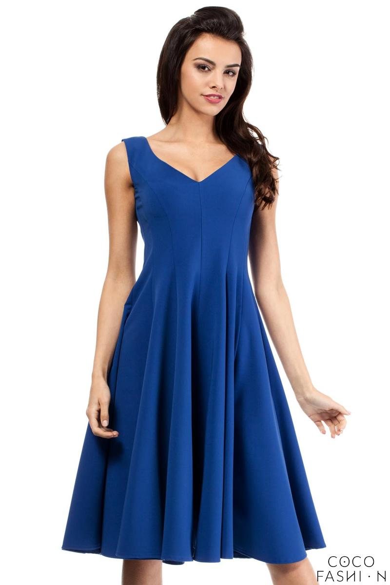 Blue Sleeveless  Elegant Flared Coctail Dress