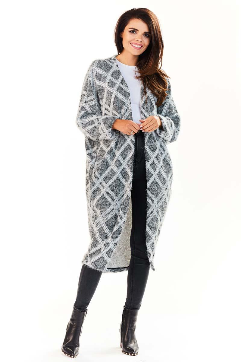 Grey Diamond Pattern Long Losse Lapels Cardigan