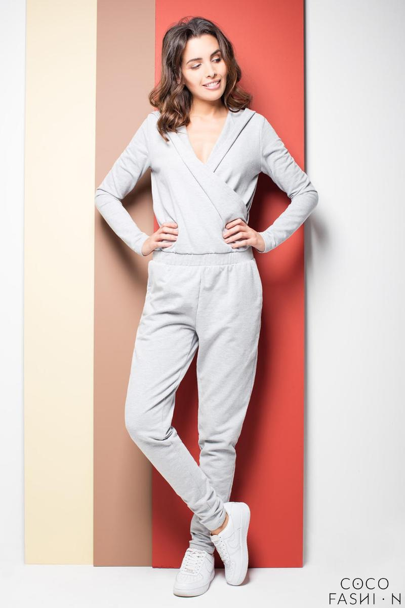 Grey Casual Ladies Hooded Jumpsuit