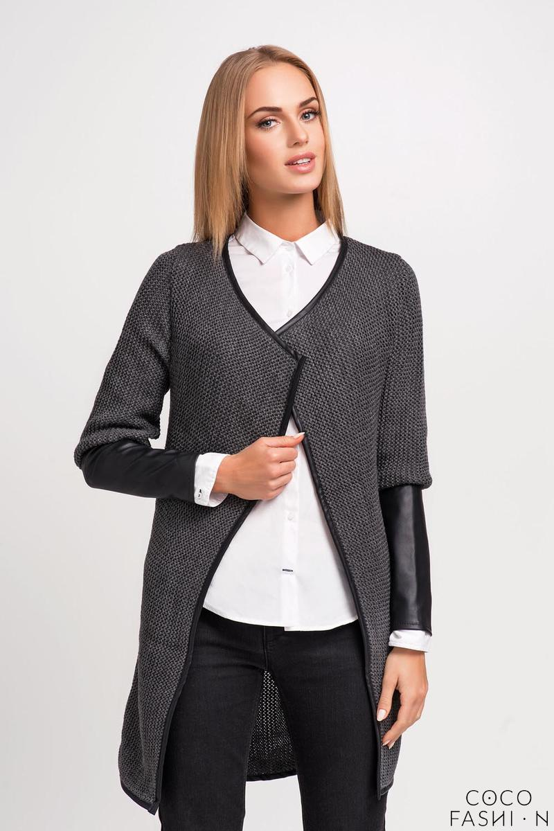 Dark Grey Elegant Cardigan with Eco-leather Piping and Sleeves