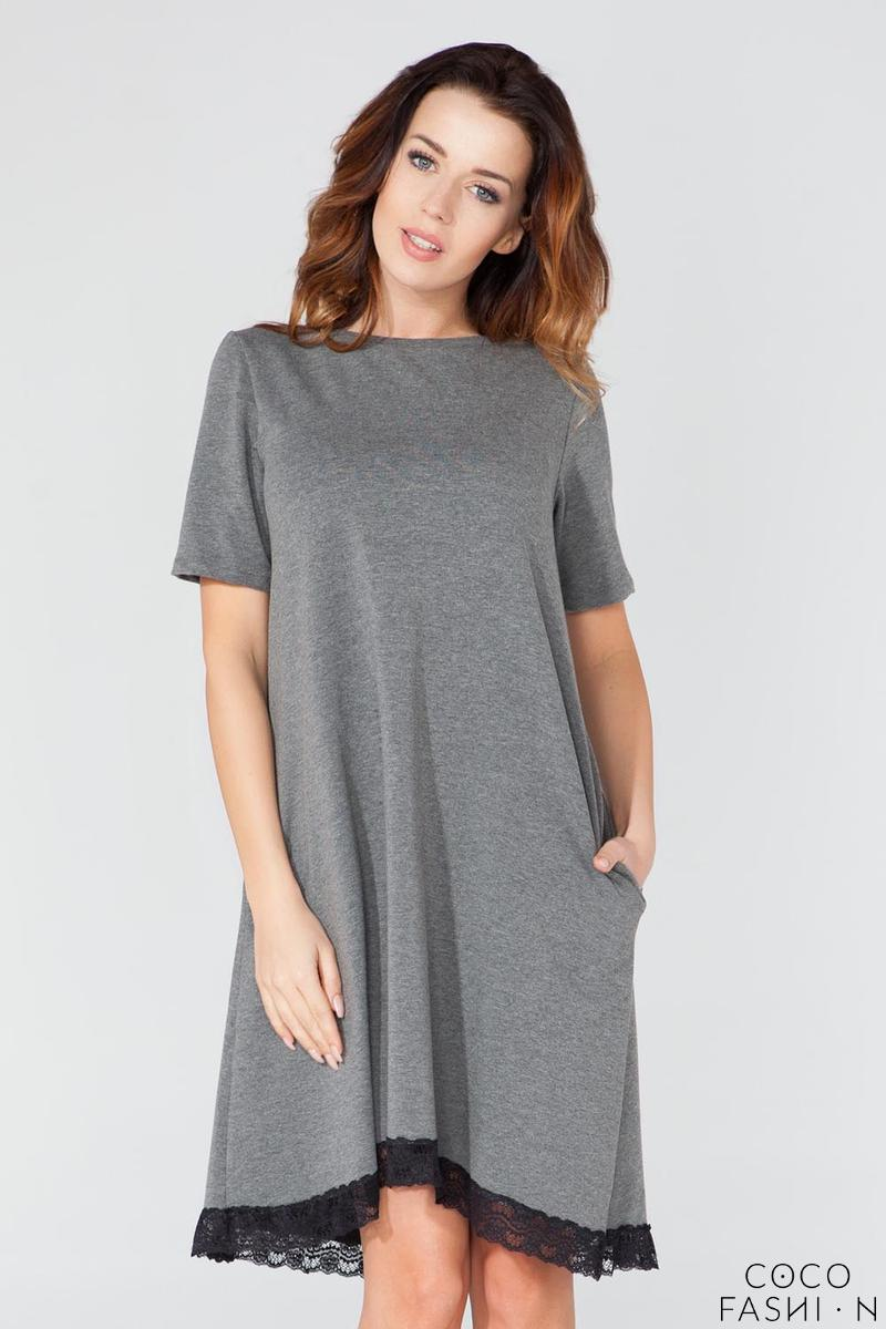 Grey Flared Short Sleeves Dress with Lace Edging