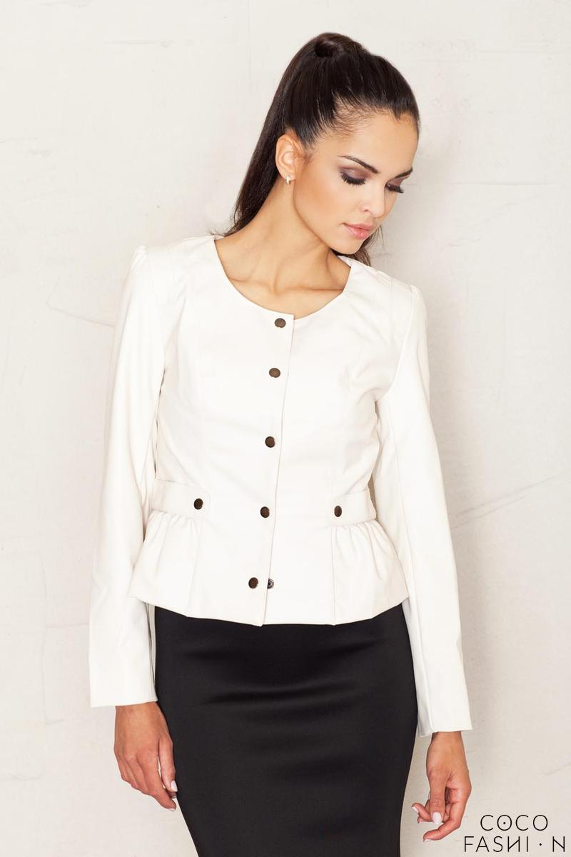Crop Leather Beige Jacket with Snap Button Closure