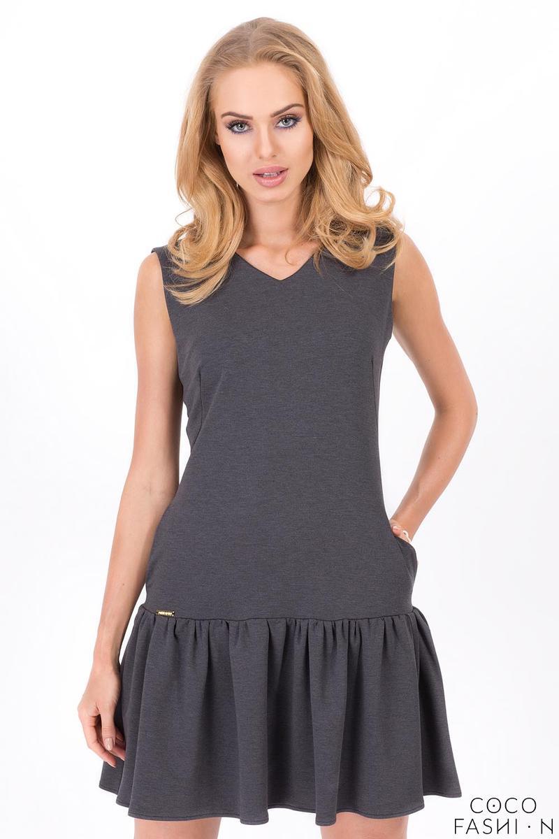 Dark Grey Summer Style Frilled Sleeveless Mini Dress от cocofashion