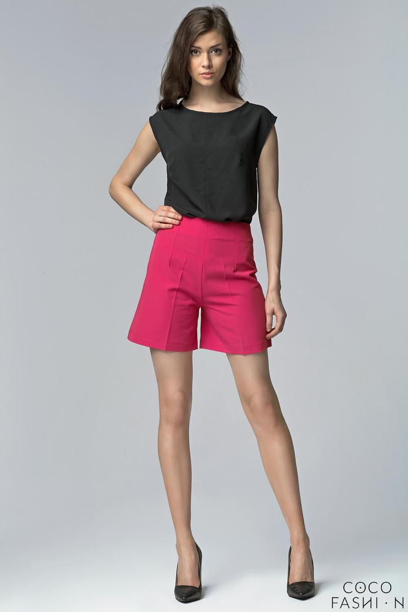 Fuchsia High Waist Stylish Ladies Shorts