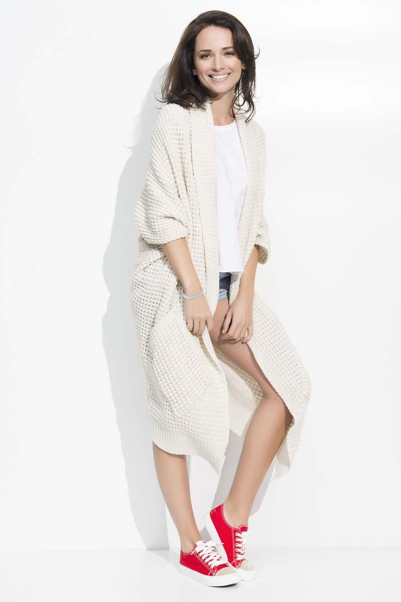 Beige Long Bat Sleeves Cape Cardigan
