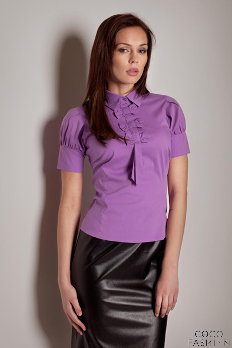 Violet Collared Blouse with Bow Details and Pleated Cap Sleeves