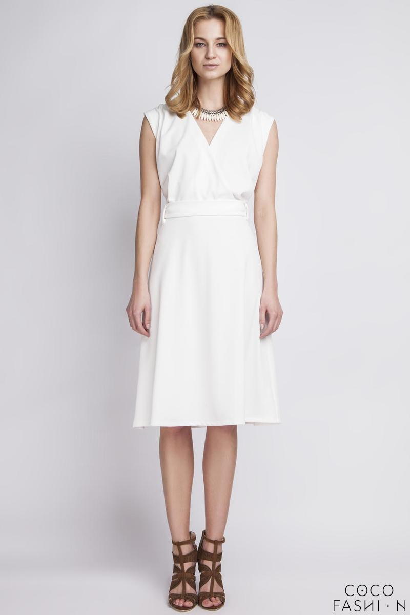 white-wrap-collar-midi-dress