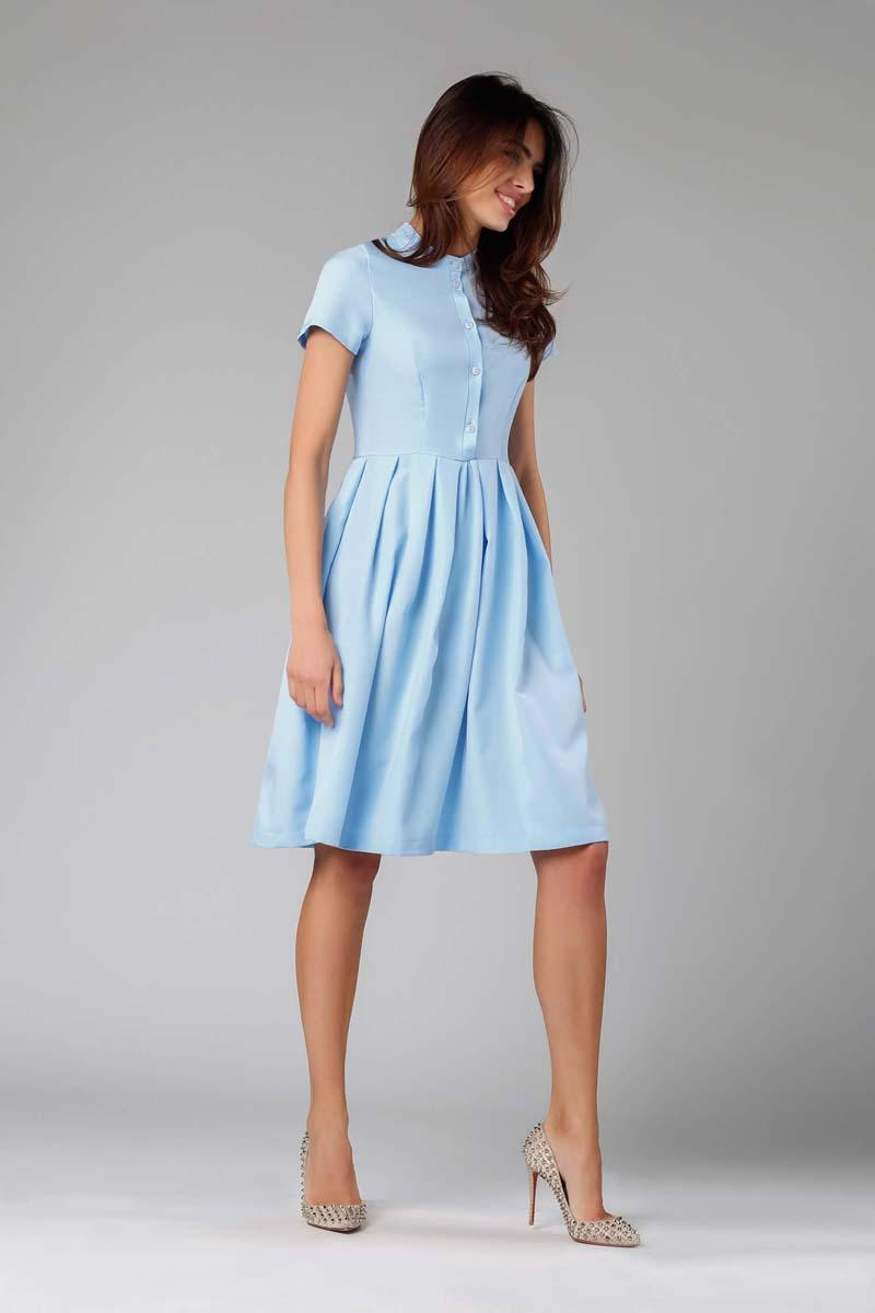 Light Blue Flared short-sleeved Dress with Stand-up Collar