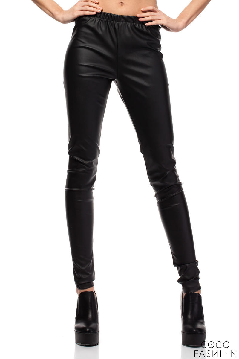 Black Skinny Pants with Elasticized Waist and Hip Pockets