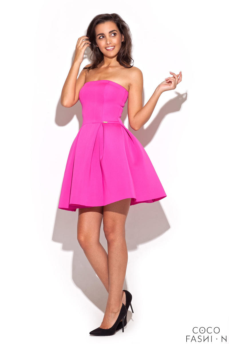 Deep Rose Bandeau Dress with Pleated Skirt