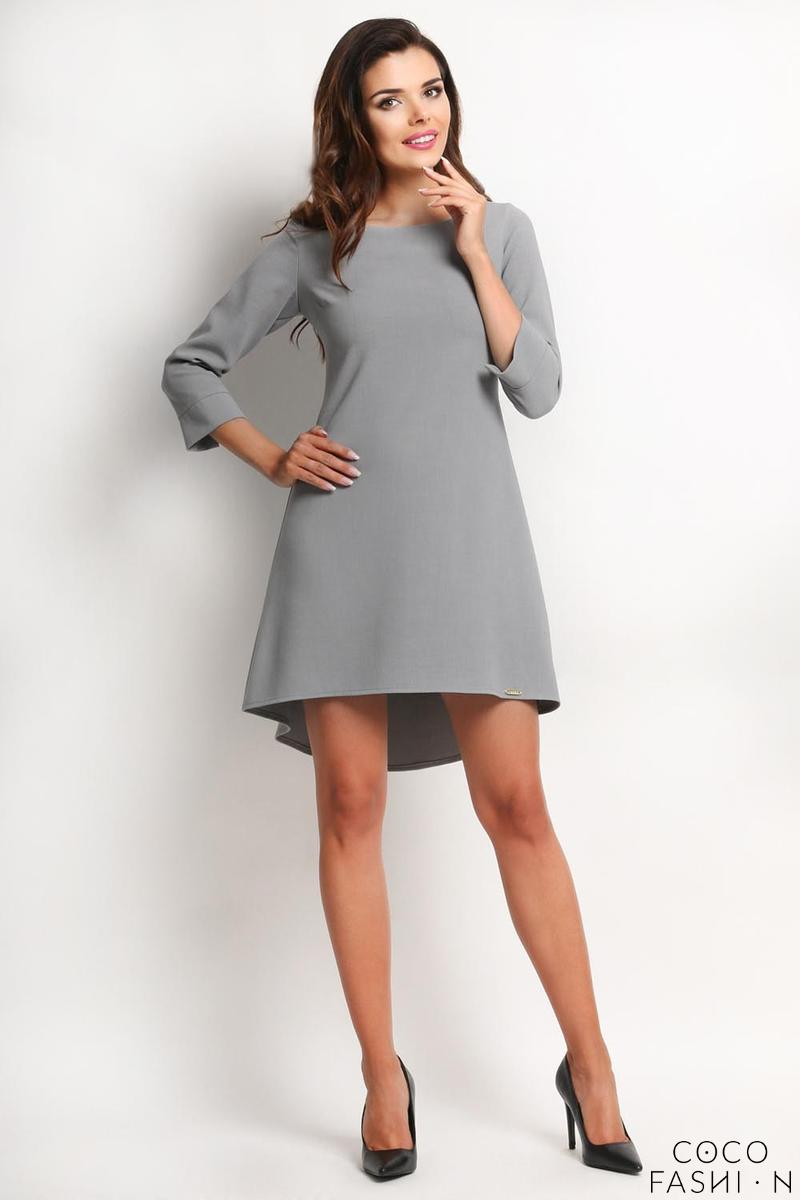 Grey Longer Back Double Fold Dress