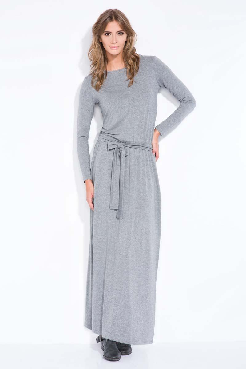 Dark Grey Casual Fit Belted Maxi Dress