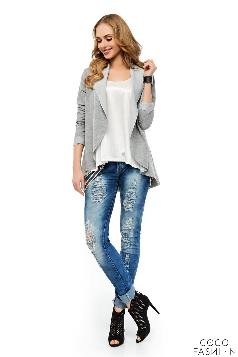 Grey Stylish Loose Lapels Cardigan Blazer
