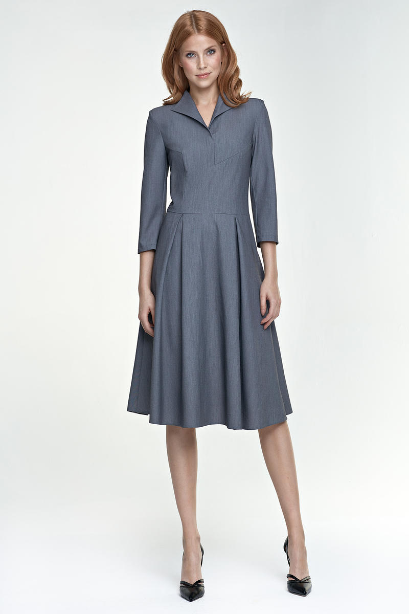 Grey Light Pleats Dress with Collar