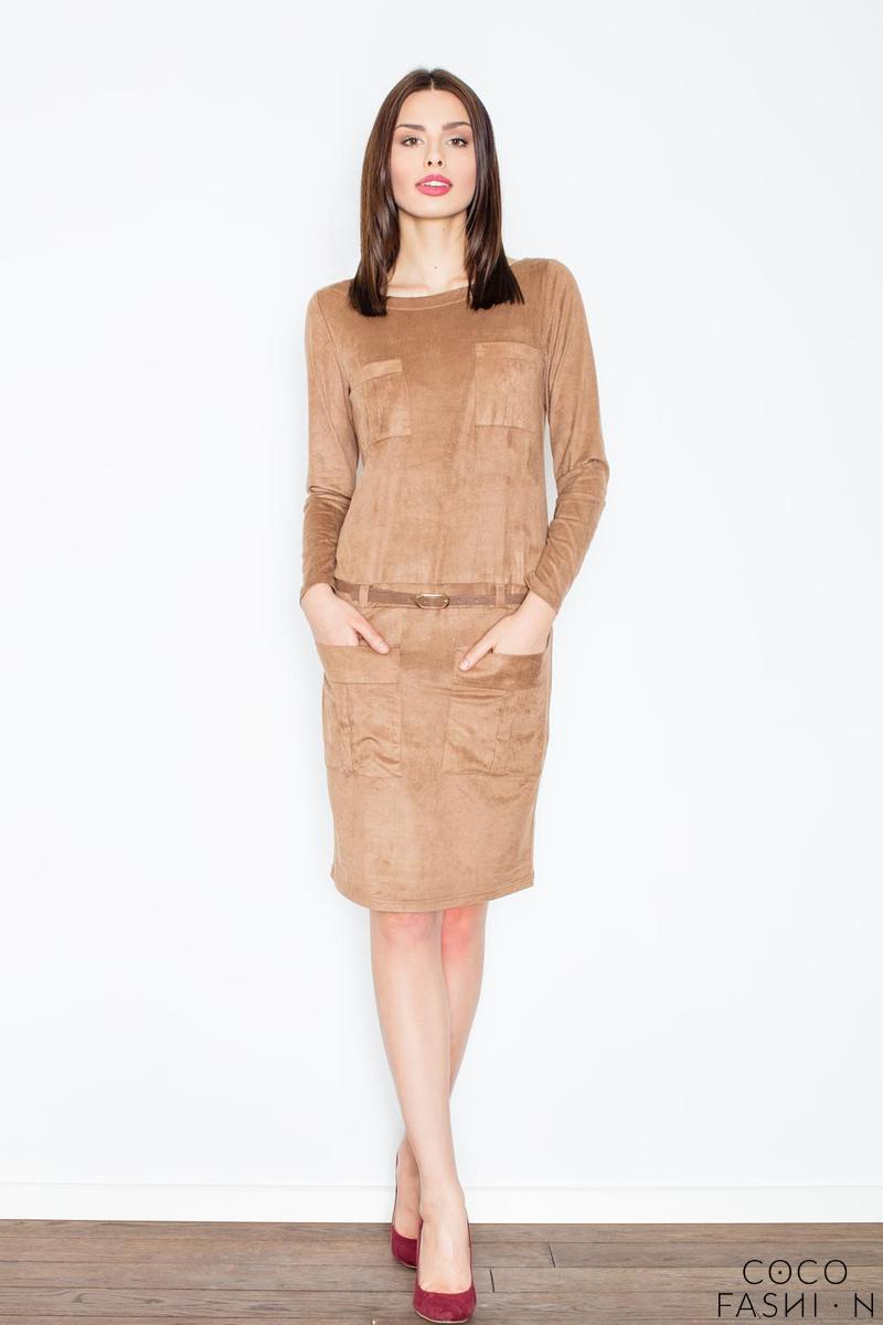 brown-office-style-dress-with-pockets