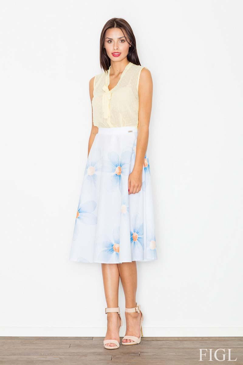 White&Sky Blue Midi Flared Skirt