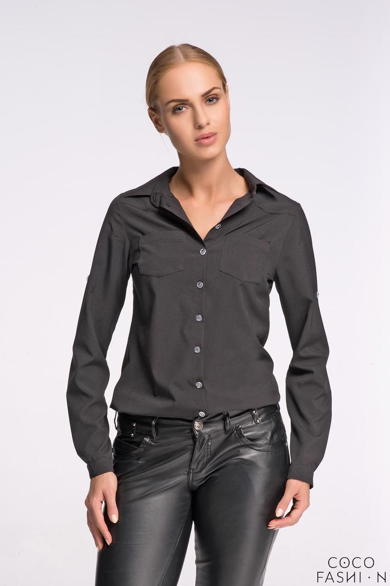 Black Classic Shirt with Double Pockets от cocofashion