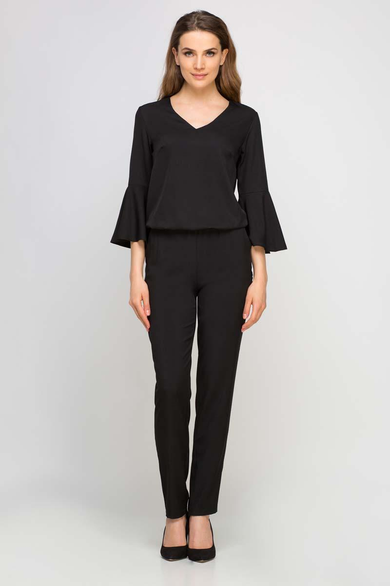 Black Elegant Jumpsuit with Flared Cuffs