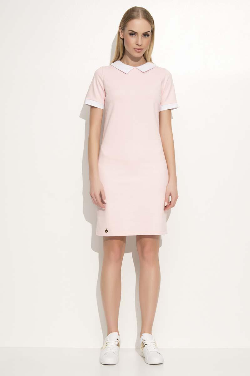 Powder Pink Mini Dress with Contrasting White Collar