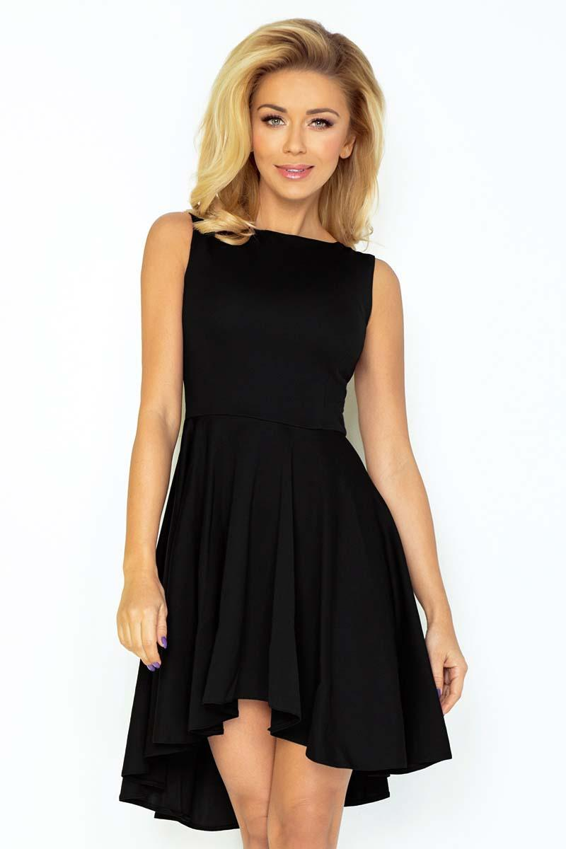 Black Pleated Asymetrical Coctail Dress
