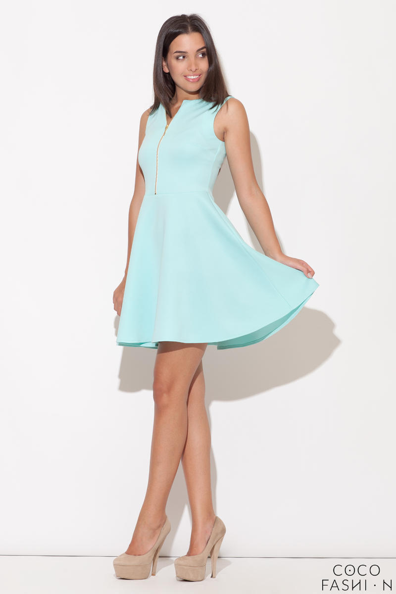 Green Light Hearted Sleeveless Flare Date Dress
