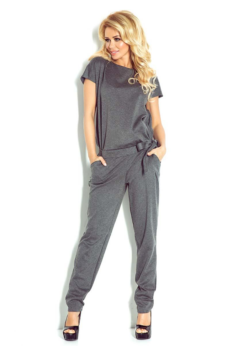 Dark Grey Open Back Elegant Ladies Jumpsuit