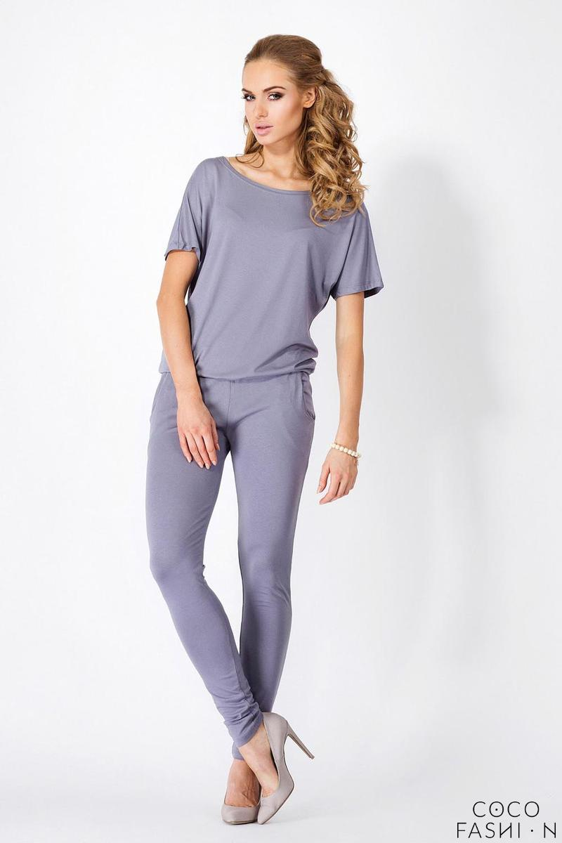 Grey Loose Top and Slim Pants Ladies Jumpsuit