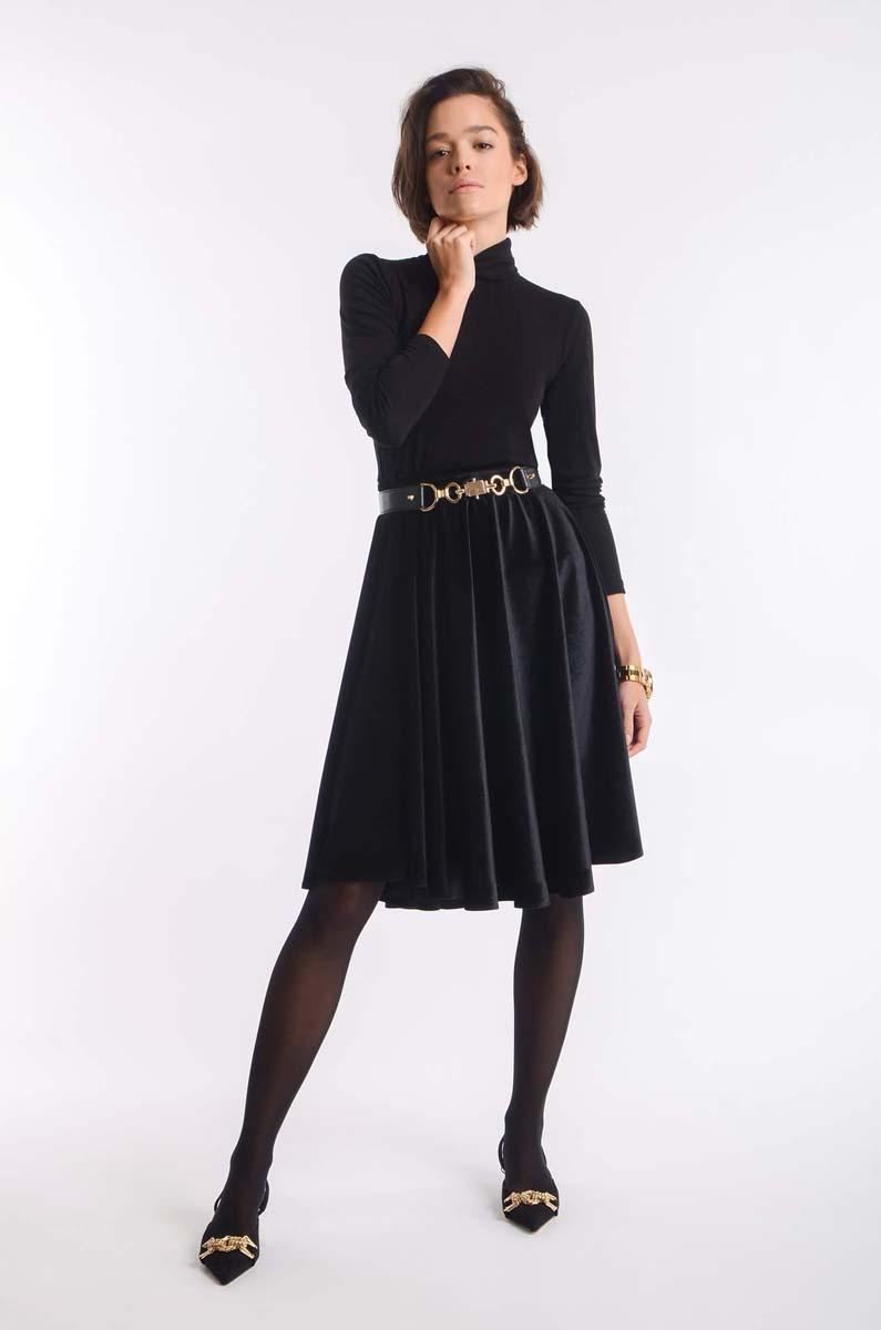 Black Flared Midi Velor Skirt