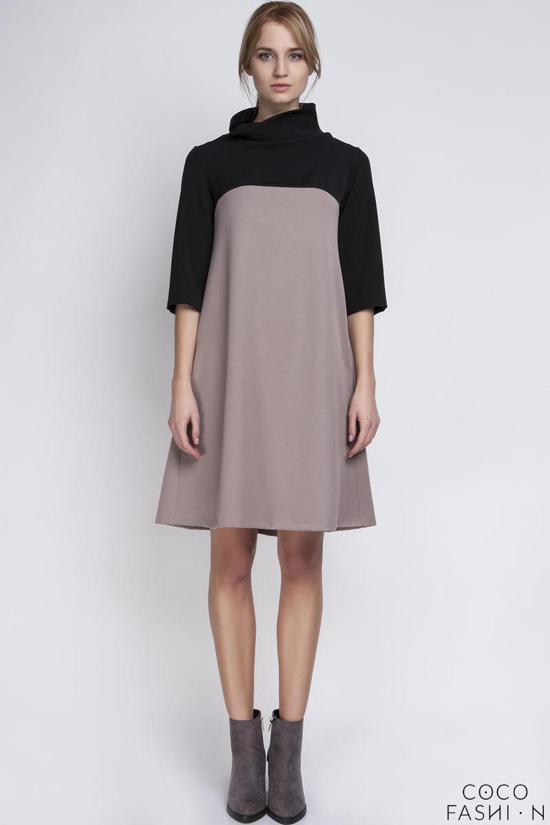 Beige&Black Tourtleneck Dress with Double Fold at The Back