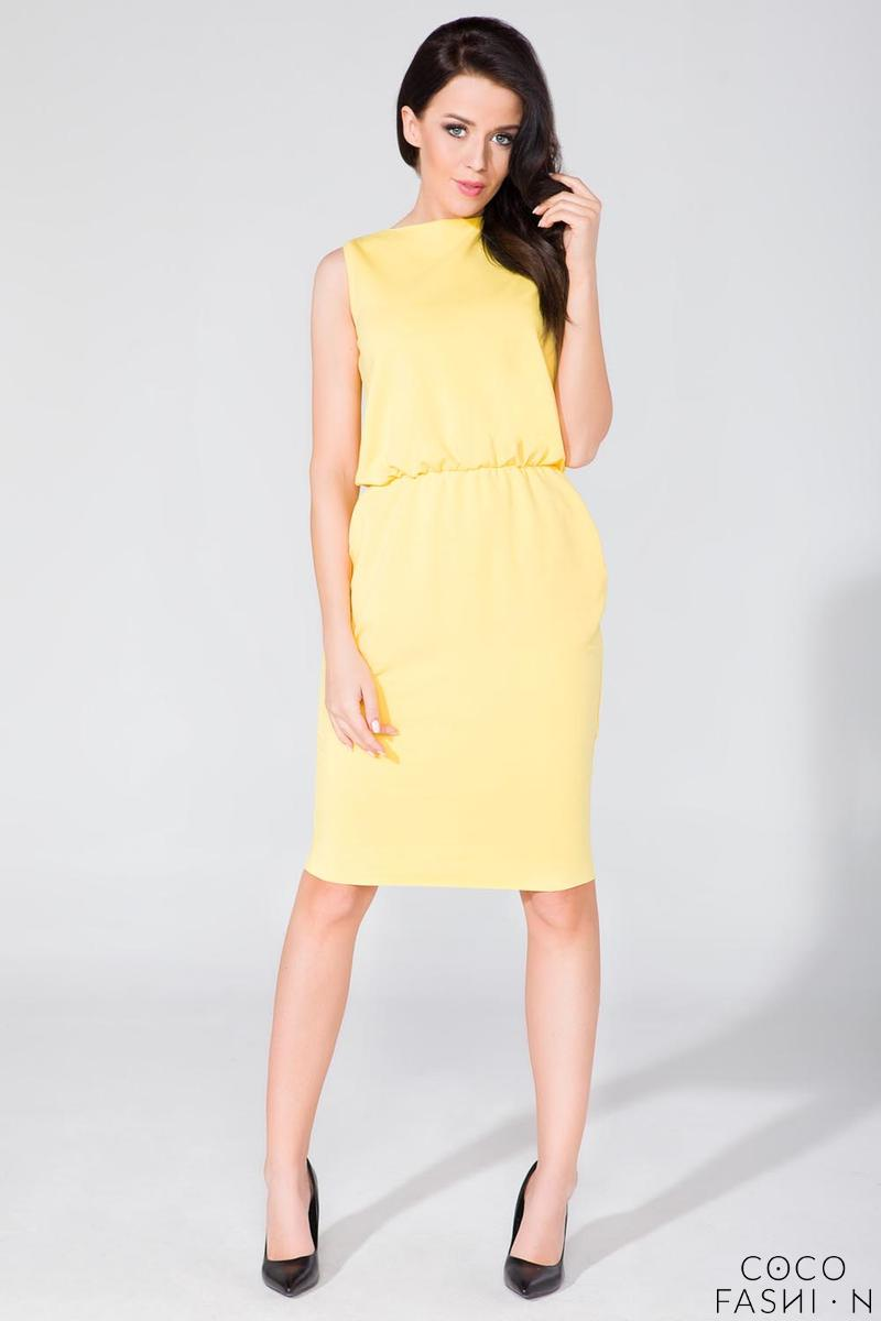 Yellow Sleeveless Side Pockets Casual Dress