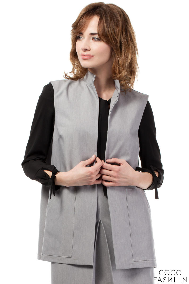 Grey Ladies Vest with Pockets and Belt