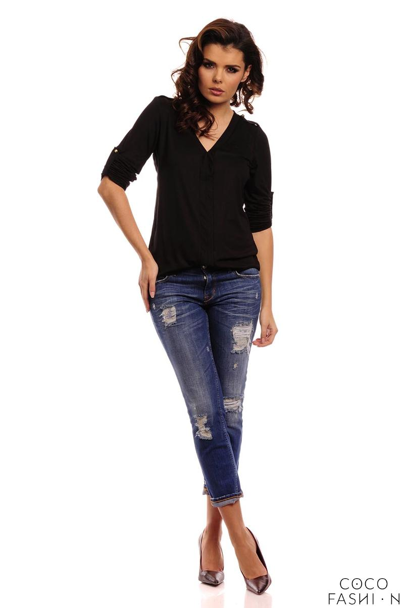Black Knitted Roled-up Sleeves Blouse