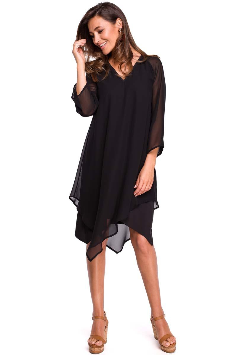 Black Asymmetrical Double Layer Dress with Bell Sleeve