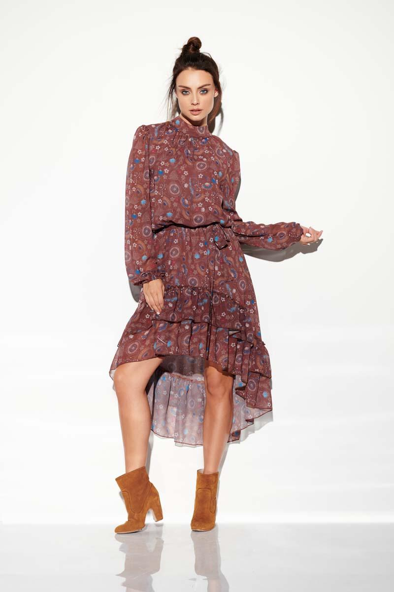 Flimsy Asymmetrical Dress With Frills in Pattern Print 9