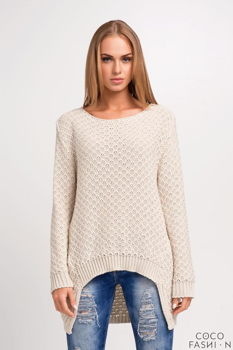 Beige Asymmetrical Sweater with Longer Back