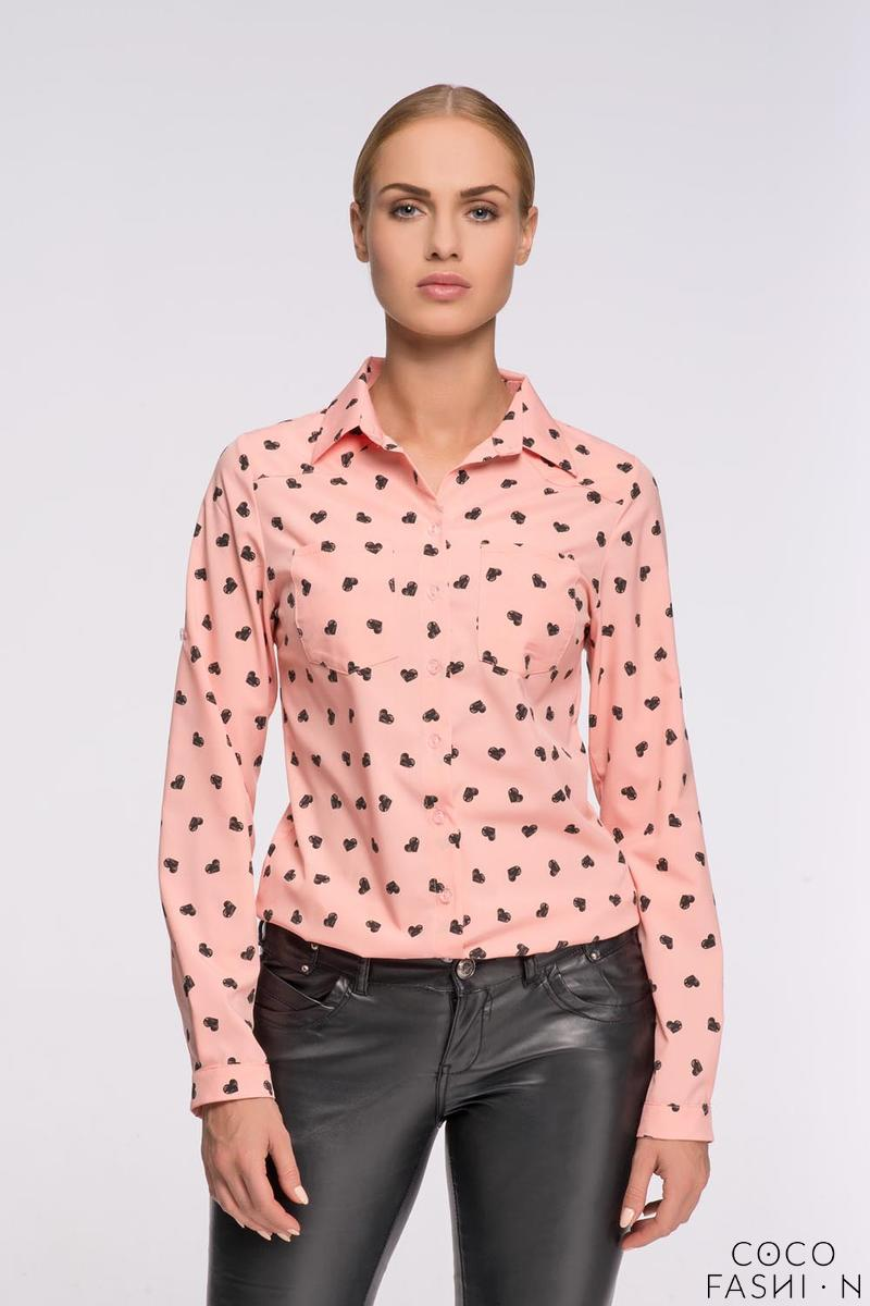 Apricot Casual Ladies Shirt with Hearts Pattern от cocofashion