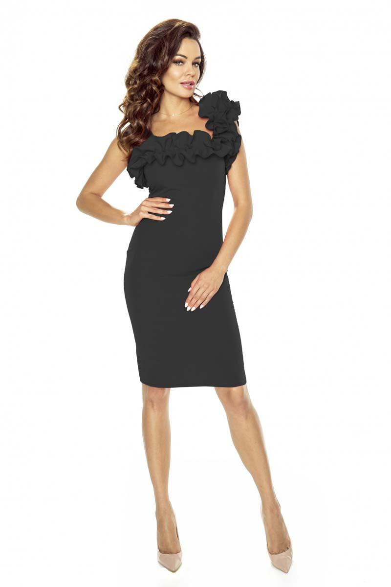 Black Coctail Dress with Frilled Strap