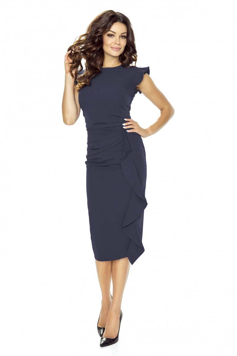 Dark Blue Structured Petal Sleeves Midi Dress