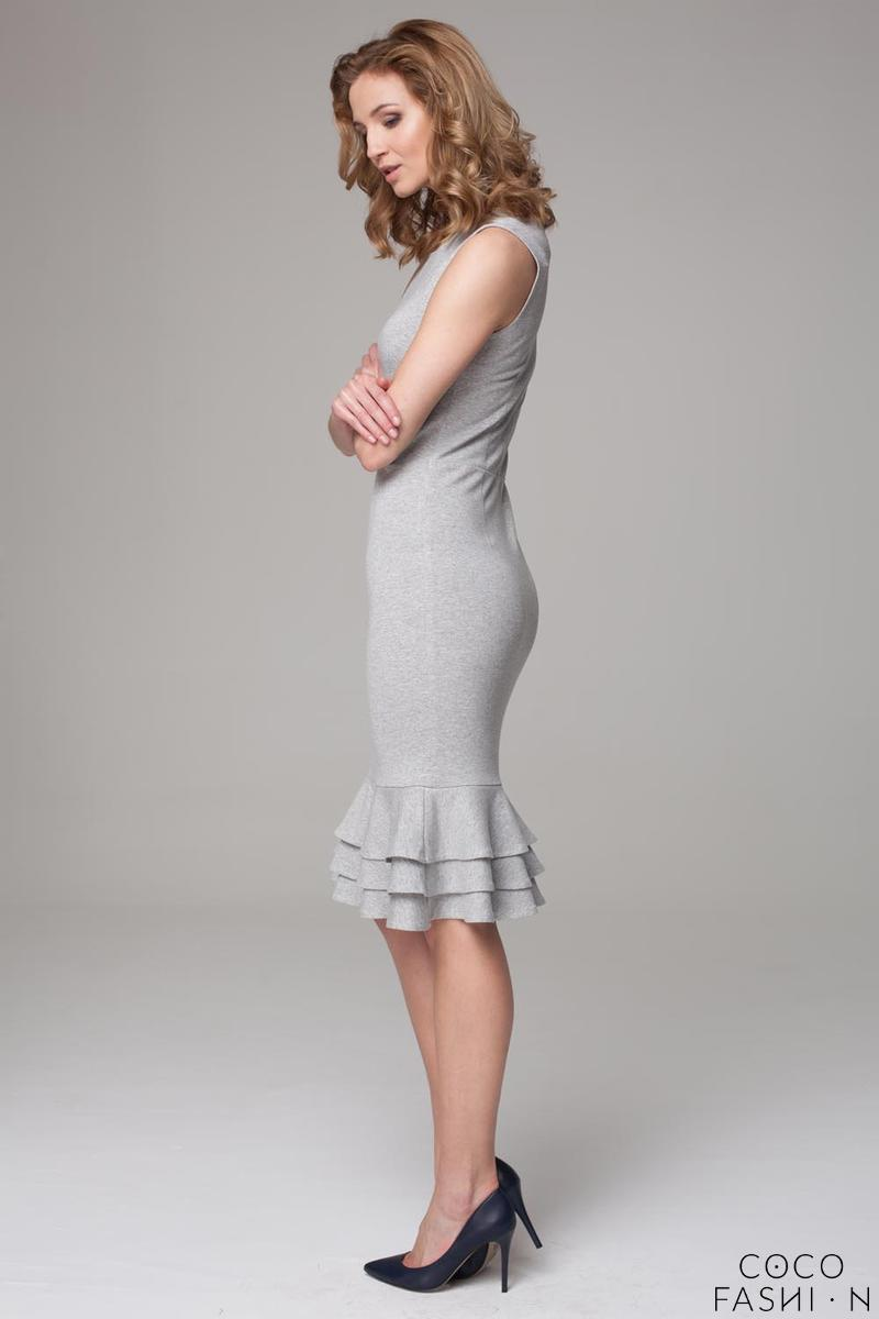 Grey Coctail Midi Dress with Frills