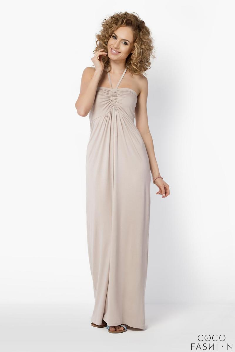 Beige Maxi Long Halterneck Dress