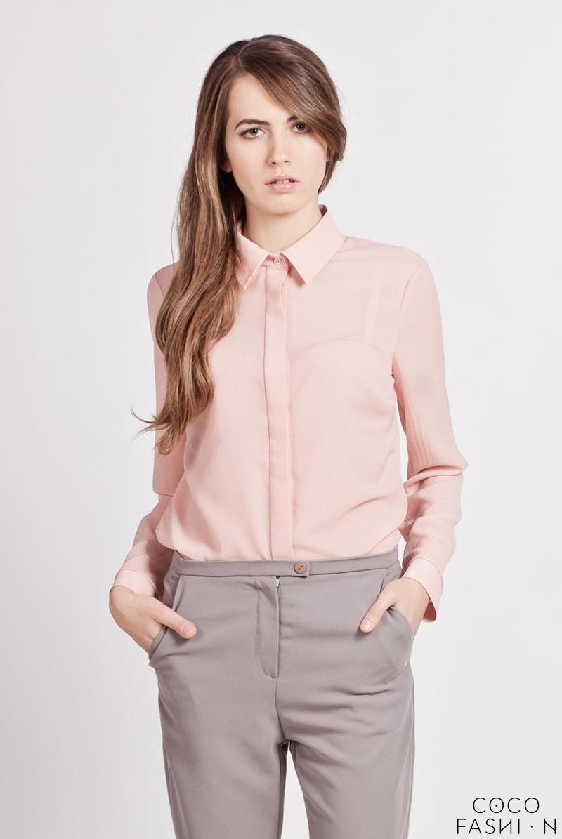 Pink Long Sleeves Classic Ladies Shirt