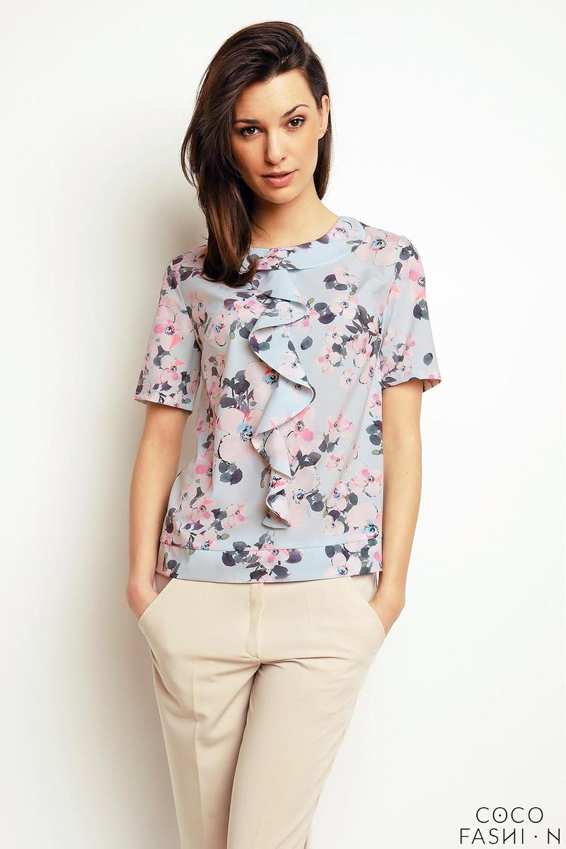 Floral Short Sleeves Top with a Frill