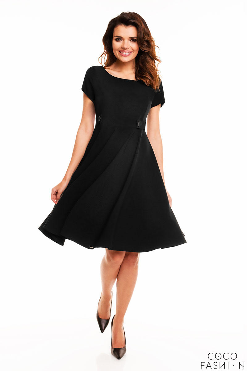 Black Short Sleeves Light Pleats Dress