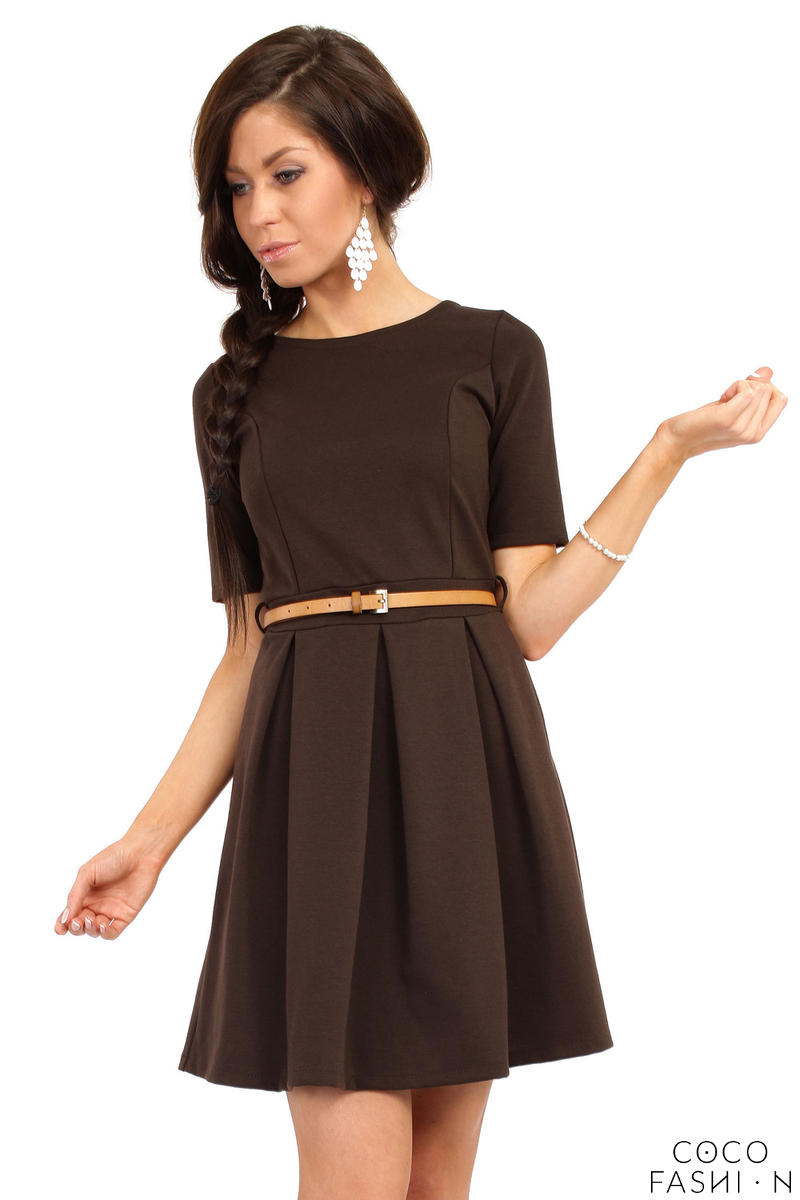 brown-magnanimous-modern-belted-tea-length-dress