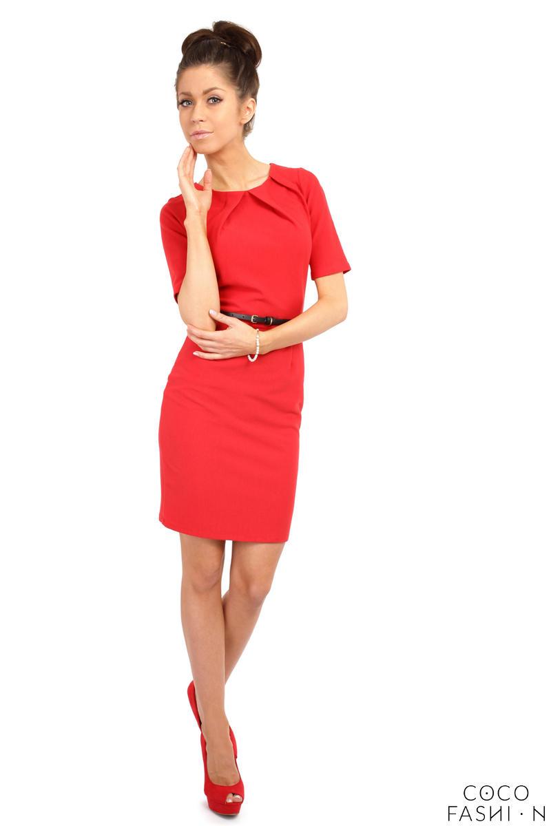 pleated neckline belted shift dress