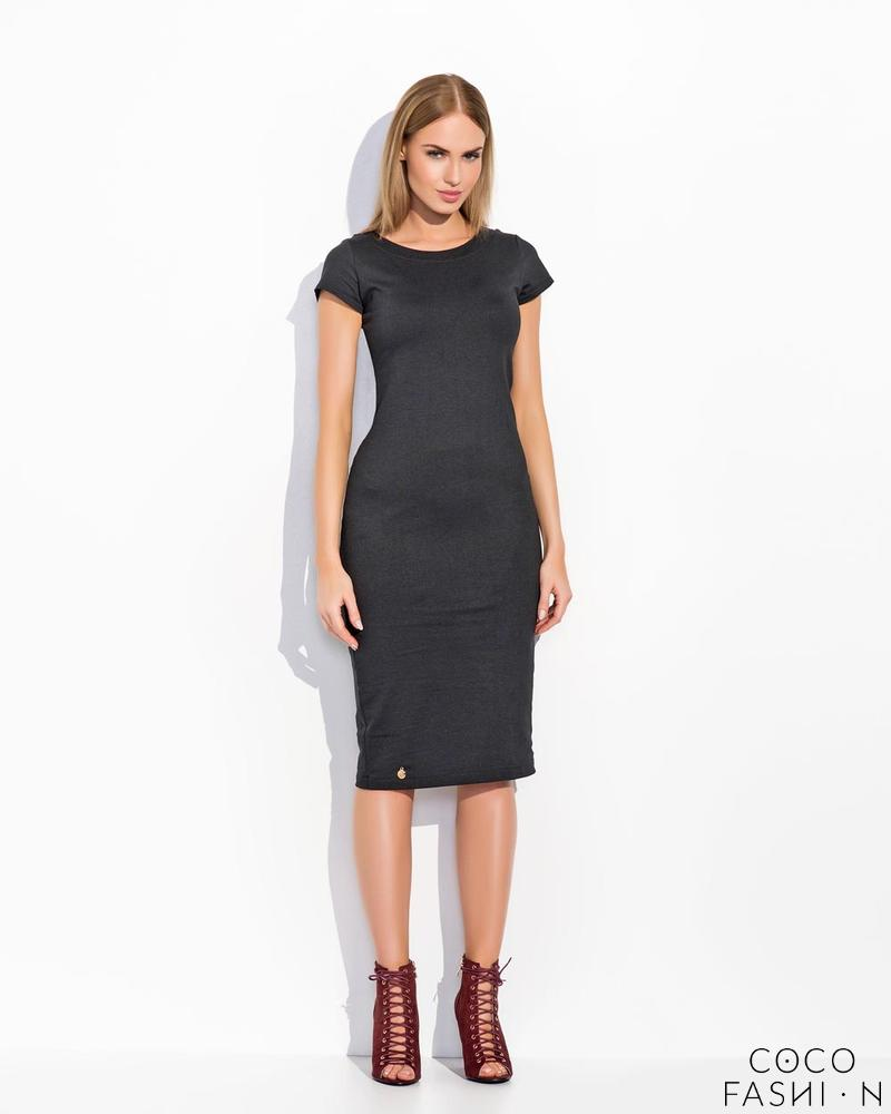 Black Plain&Simple Casual Midi Dress