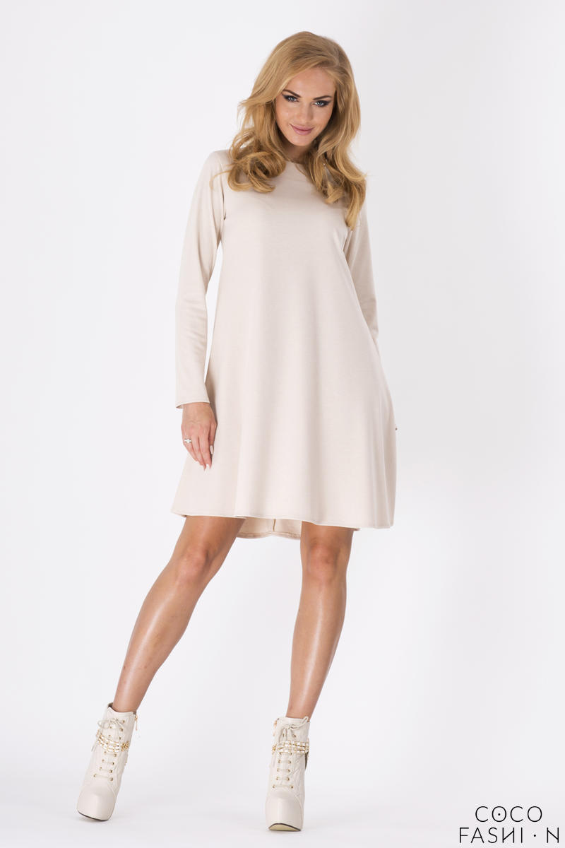 Beige Plain Long Sleeves Dress